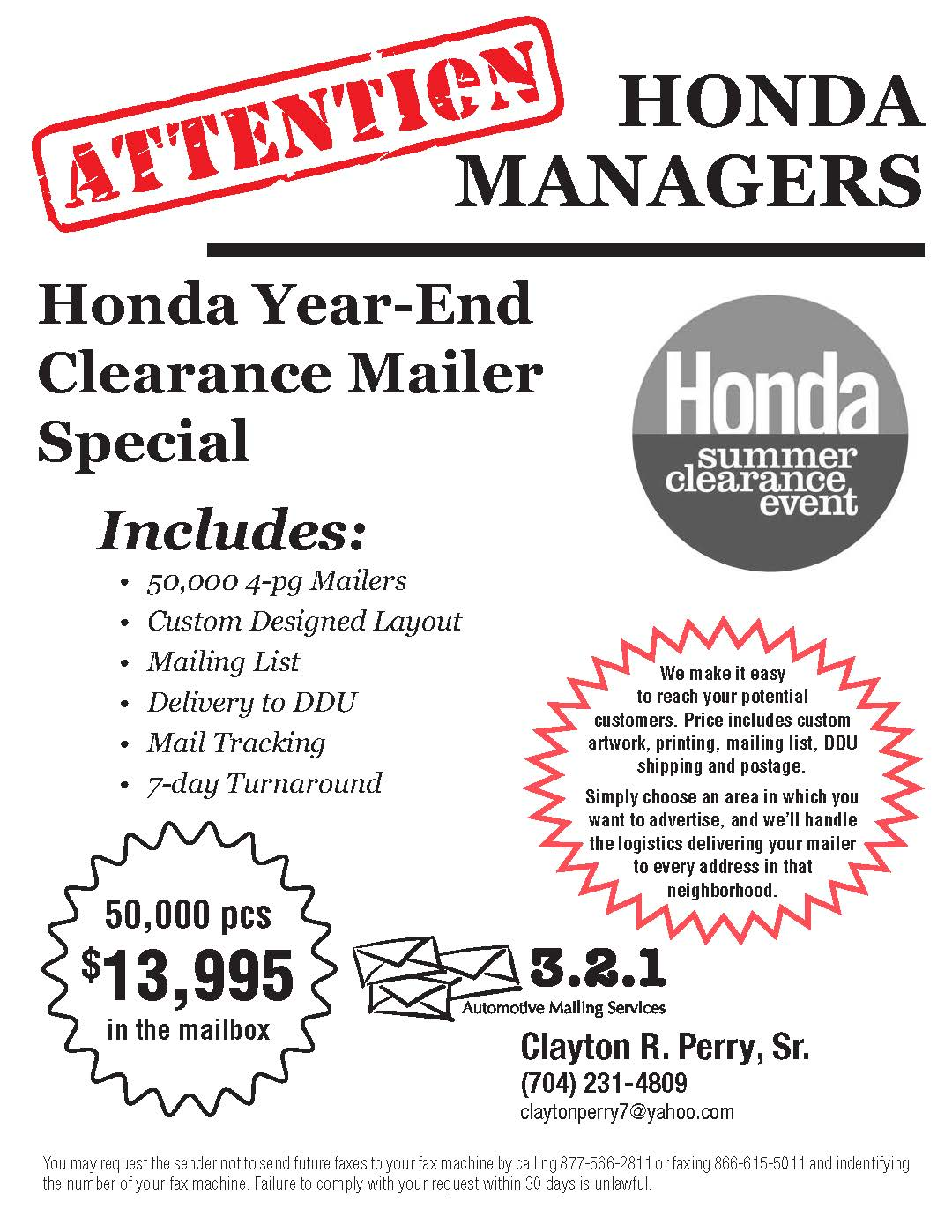 Honda Clearance Mailers