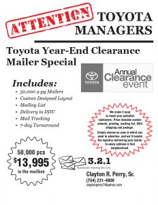 Toyota Clearance Mailers